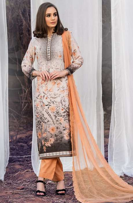 Chanderi Cotton Digital Printed Multi & Orange Suit Sets with Swarovski Work - ASH2501A