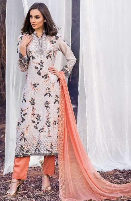 Chanderi Cotton Digital Printed Multi & Peach Suit Sets with Swarovski Work - ASH2502A