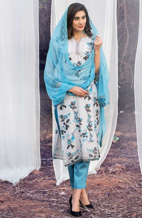 Chanderi Cotton Digital Printed Multi & Sea Blue Suit Sets with Swarovski Work - ASH2502B