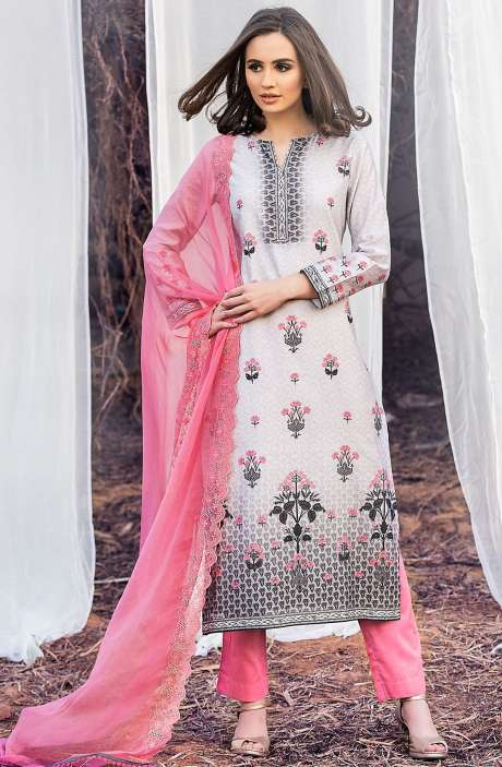 Chanderi Cotton Digital Printed Multi & Pink Suit Sets with Swarovski Work - ASH2503A