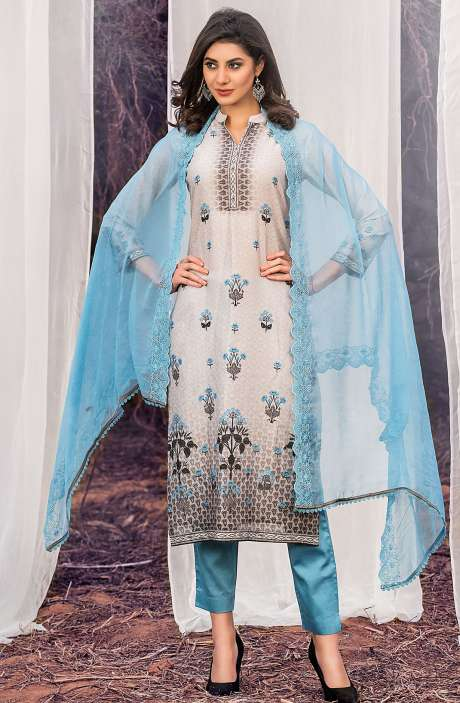 Chanderi Cotton Digital Printed Multi & Blue Suit Sets with Swarovski Work - ASH2503B