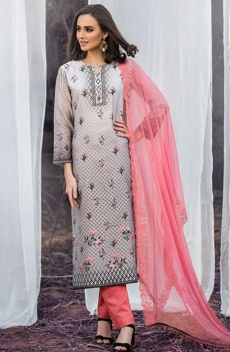 Chanderi Cotton Digital Printed Multicolour & Peach Suit Sets with Swarovski Work - ASH2504A
