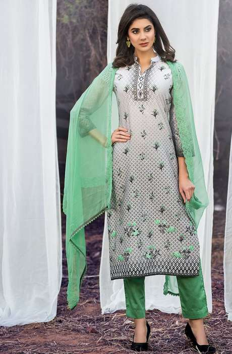 Chanderi Cotton Digital Printed Multicolour & Green Suit Sets with Swarovski Work - ASH2504B