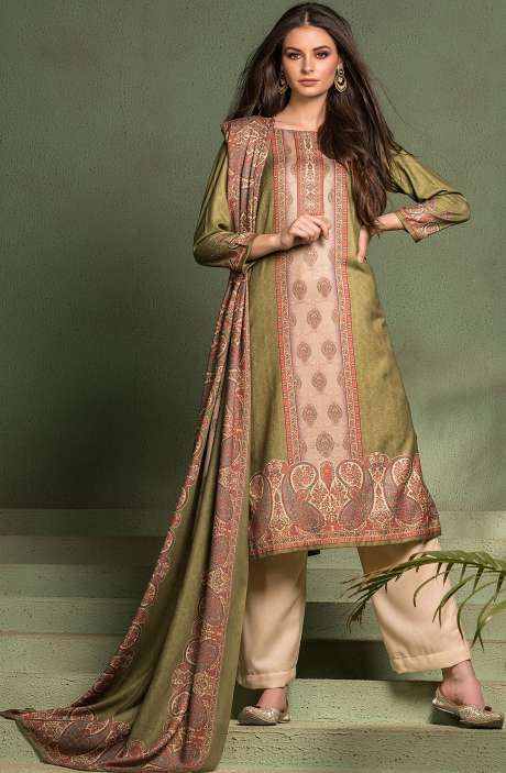 Tacfab Exclusive Digital Printed Pashmina Unstitched Salwar Suit-Sets In Mehndi Green - ASM2052