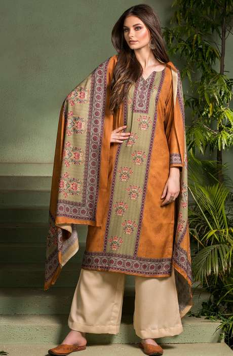 Tacfab Exclusive Digital Printed Pashmina Unstitched Salwar Suit-Sets In Mustard - ASM2054