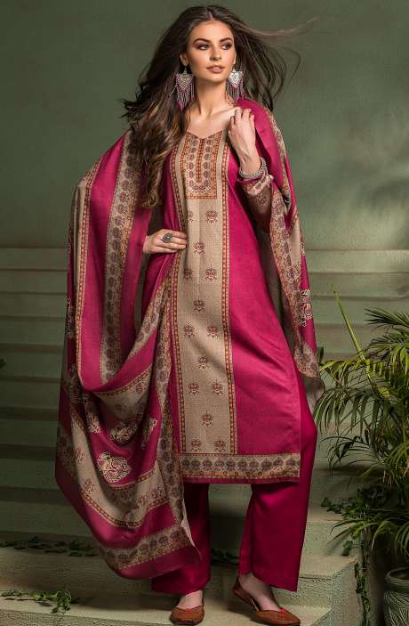 Tacfab Exclusive Digital Printed Pashmina Unstitched Salwar Suit-Sets In Magenta - ASM2055