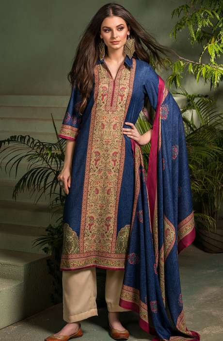 Tacfab Exclusive Digital Printed Pashmina Unstitched Salwar Suit-Sets In Indigo Blue - ASM2056