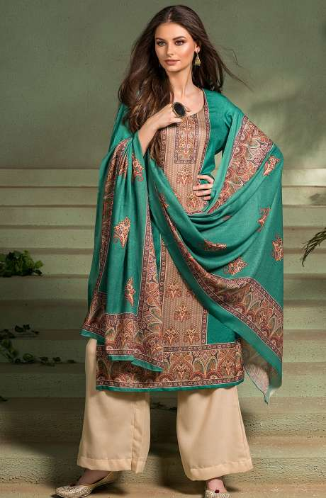 Tacfab Exclusive Digital Printed Pashmina Unstitched Salwar Suit-Sets In Green - ASM2057