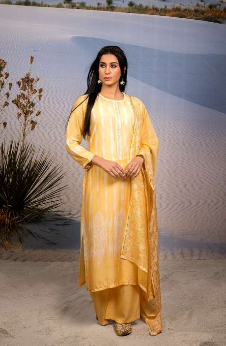 Semi-stitched Designer Modal Cotton Salwar Suit Set In Yellow - ASR6035