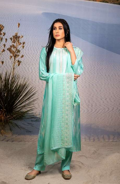 Semi-stitched Designer Modal Cotton Salwar Suit Set In Turquoise - ASR6037