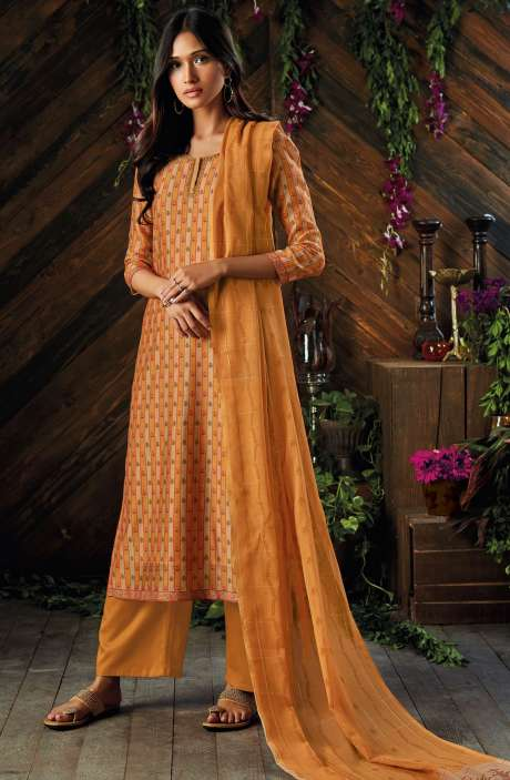 Kora Chanderi Digital Printed Salwar Kameez In Mustard and Brown - ASR6925R