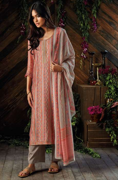 Kora Chanderi Digital Printed Salwar Kameez In Peach and Fawn - ASR6927R