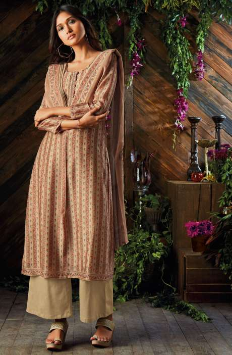 Kora Chanderi Digital Printed Salwar Kameez In Beige - ASR6928R