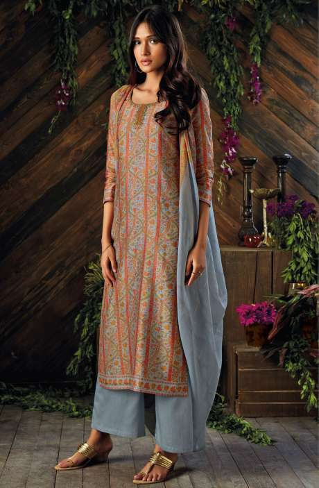 Kora Chanderi Digital Printed Salwar Kameez In Multi-coloured and Grey - ASR6929R