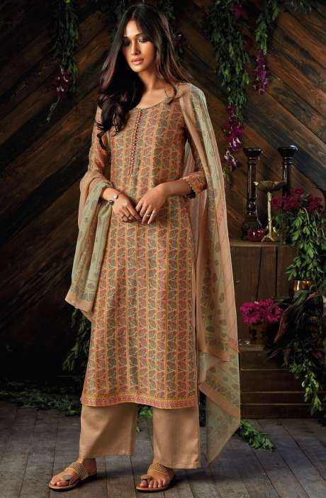 Kora Chanderi Digital Printed Salwar Kameez In Multi-coloured and Fawn - ASR6930R