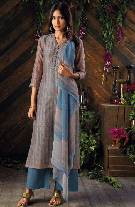 Kora Chanderi Digital Printed Salwar Kameez In Greyish Blue and Peach - ASR6931R