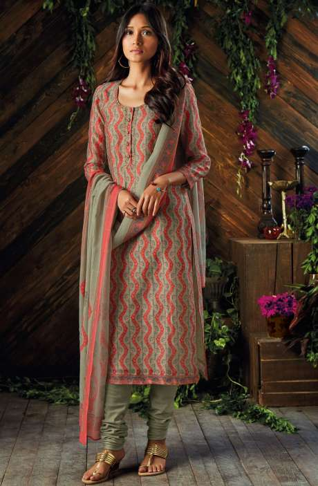 Kora Chanderi Digital Printed Salwar Kameez In Light Green and Coral - ASR6933R