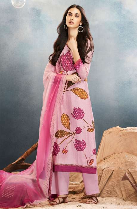 Digital Printed Cotton Silk Ready-to-Stitch Salwar Suit Sets In Baby Pink - AST7611