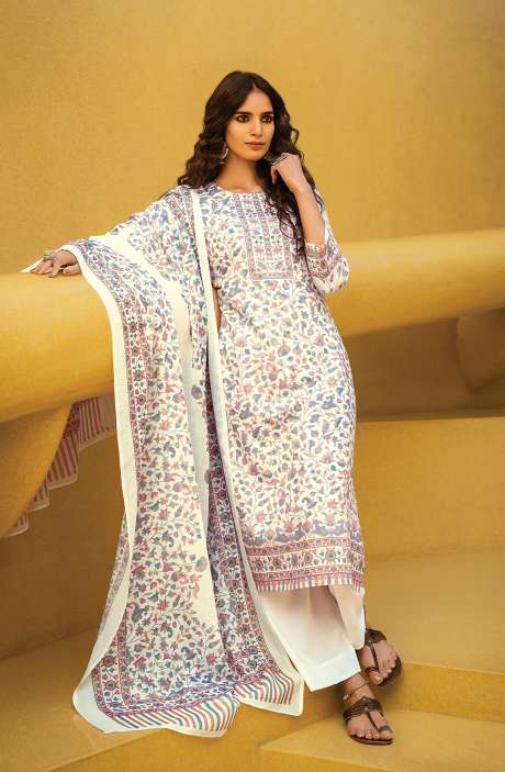 Cotton Digital Kani Print Salwar Suit Set In White & Multi - ATR3301