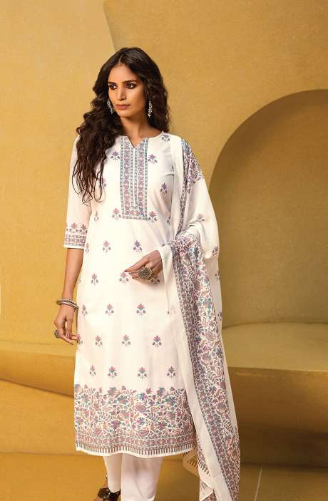 Cotton Digital Kani Print Salwar Suit Set In White & Multi - ATR3302