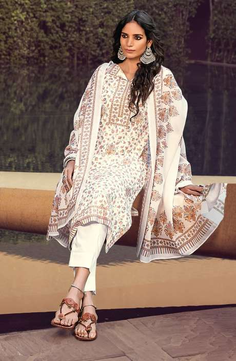 Cotton Digital Kani Print Salwar Suit Set In White & Multi - ATR3303