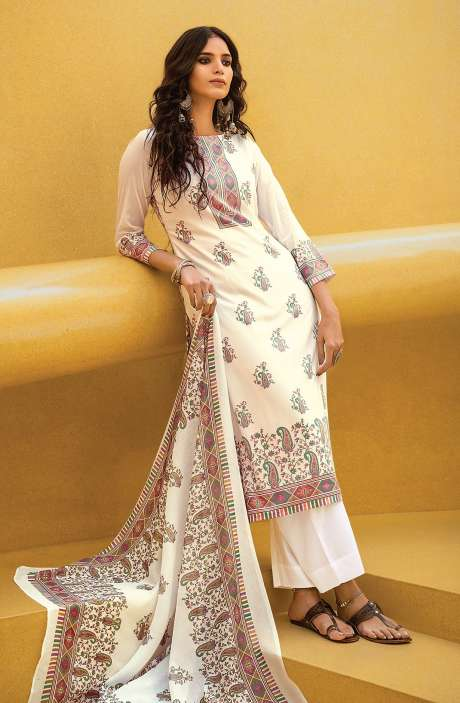 Cotton Digital Kani Print Salwar Suit Set In White & Multi - ATR3304