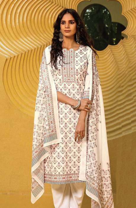 Cotton Digital Kani Print Salwar Suit Set In White & Multi - ATR3305