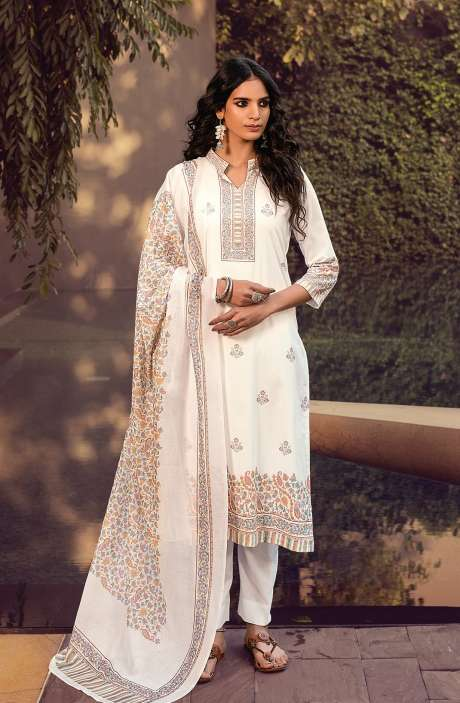 Cotton Digital Kani Print Salwar Suit Set In White & Multi - ATR3306
