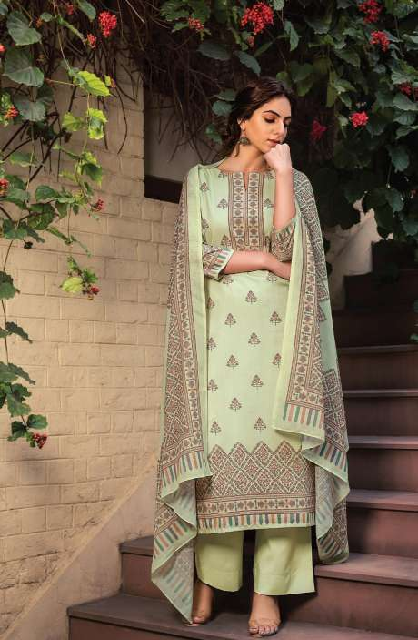 Cotton Voile Digital Kani Print Salwar Suit Set In Pista Green - ATR3307