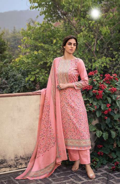 Cotton Voile Digital Kani Print Salwar Suit Set In Pink - ATR3308