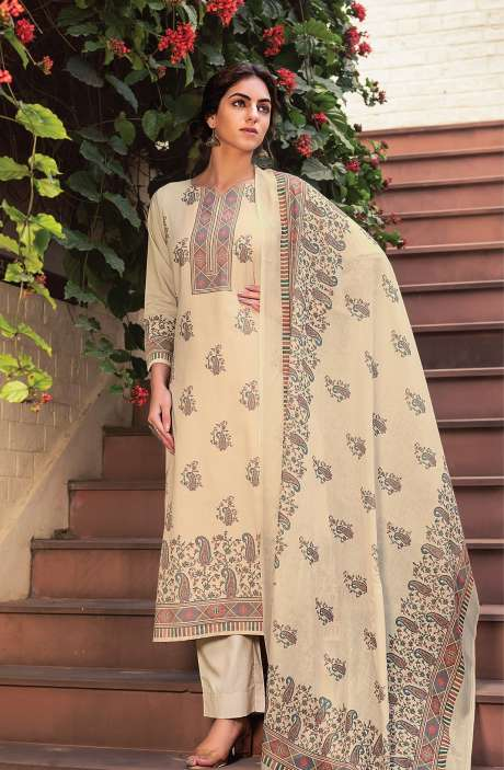 Cotton Voile Digital Kani Print Salwar Suit Set In Beige - ATR3309
