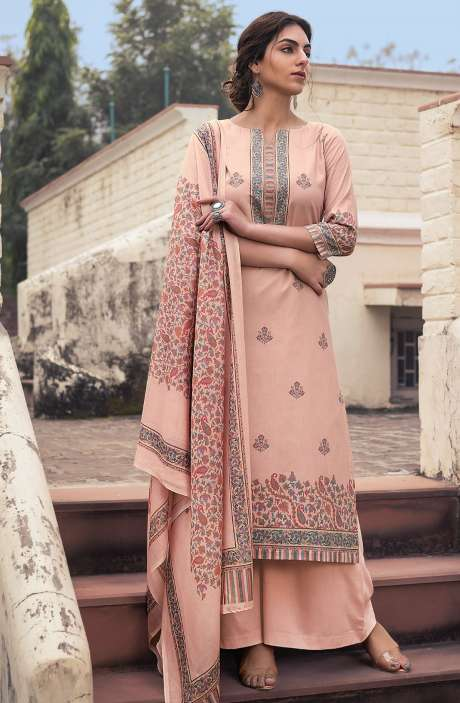 Cotton Voile Digital Kani Print Salwar Suit Set In Peach - ATR3310
