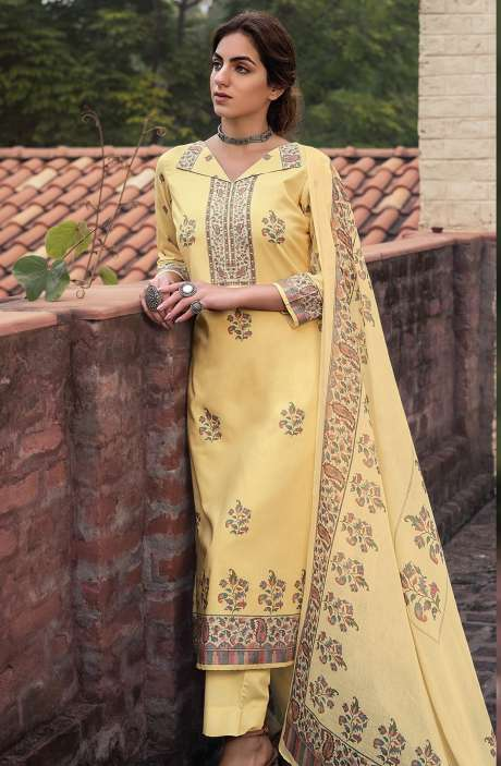 Cotton Voile Digital Kani Print Salwar Suit Set In Yellow - ATR3311