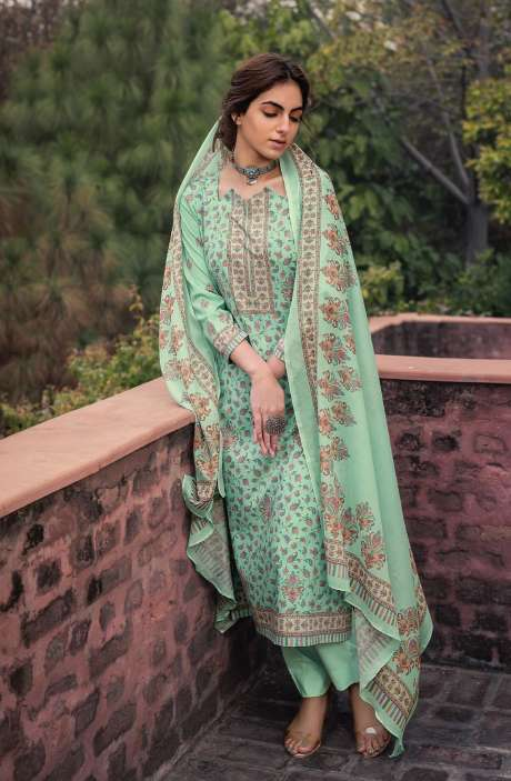 Cotton Voile Digital Kani Print Salwar Suit Set In Sea Green - ATR3312