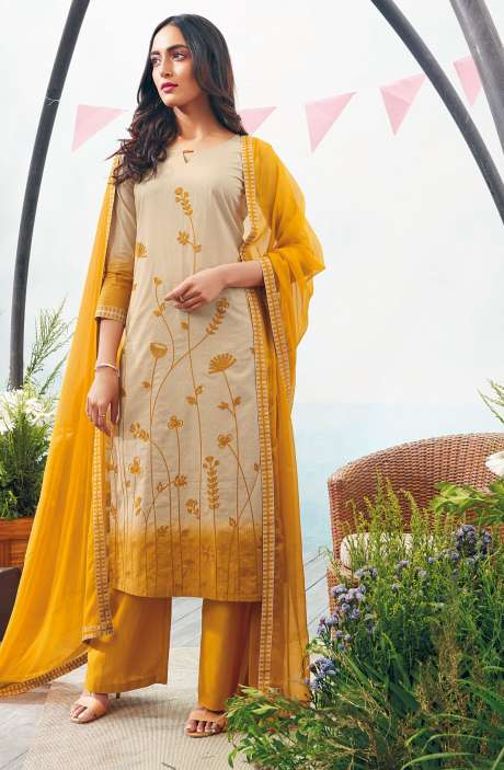Printed with Embroidery Cotton Salwar Suit In Beige and Mustard - AUT6327-R