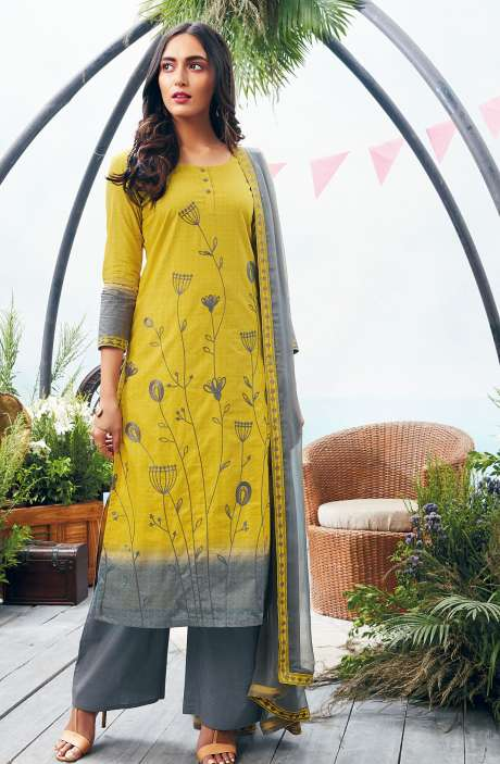 Printed with Embroidery Cotton Salwar Suit In Lime and Grey - AUT6328-R