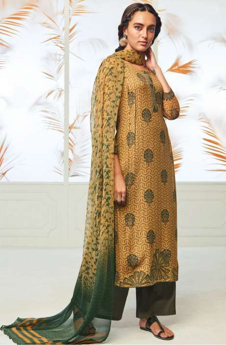 Winterwear  Spun Cotton Digital Print with Embroidery Salwar Kameez In Brown and Olive Green - AUT6711