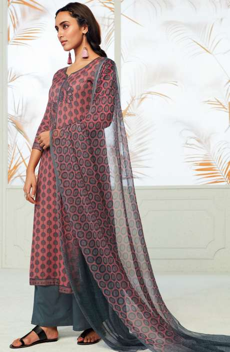 Winterwear  Spun Cotton Digital Print with Embroidery Salwar Kameez In Peach and Grey - AUT6714