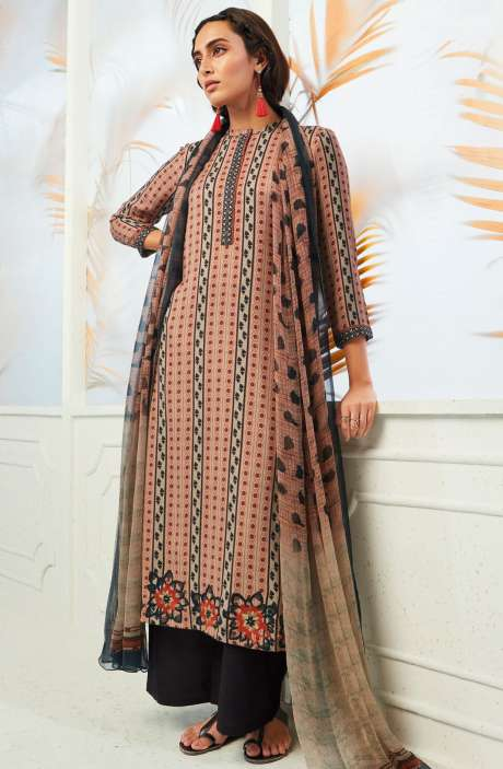 Winterwear  Spun Cotton Digital Print with Embroidery Salwar Kameez In Beige, Orange and Bottle Green - AUT6716
