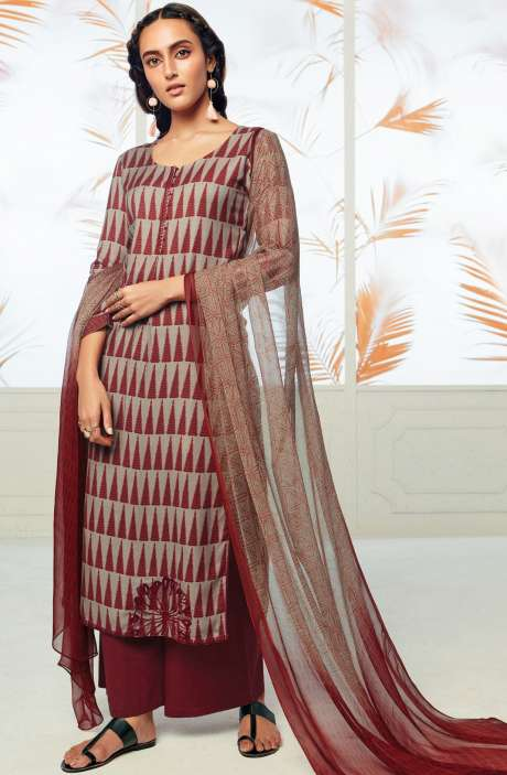 Winterwear  Spun Cotton Digital Print with Embroidery Salwar Kameez In Beige and Maroon - AUT6718