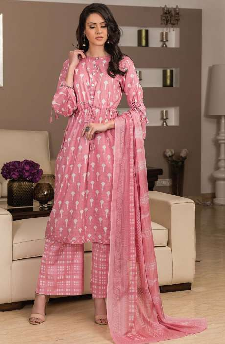 Cotton Printed Unstitched Suit Sets in Pink - AVA1901A