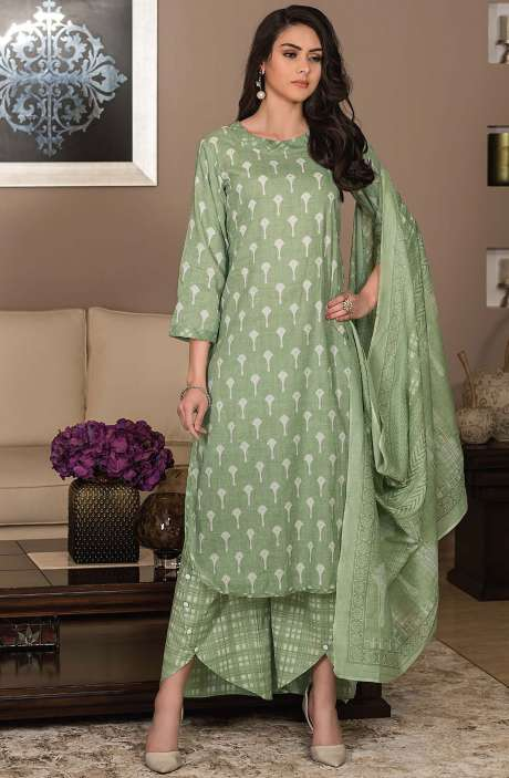 Cotton Printed Unstitched Suit Sets in Green - AVA1901B