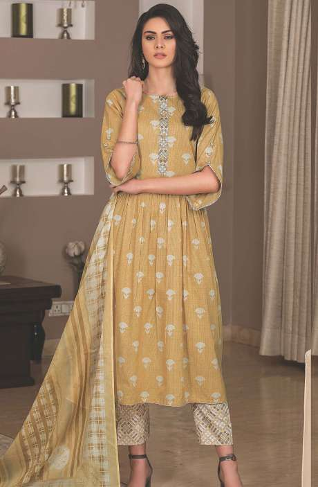 Cotton Printed Unstitched Suit Sets in Mustard - AVA1902A