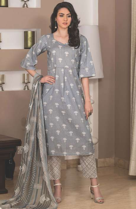 Cotton Printed Unstitched Suit Sets in Grey - AVA1902B