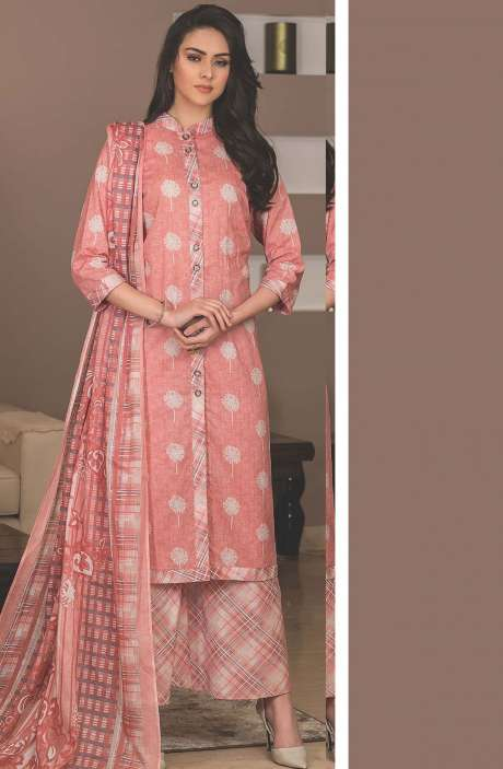 Cotton Printed Unstitched Suit Sets in Pink & Multi - AVA1903A
