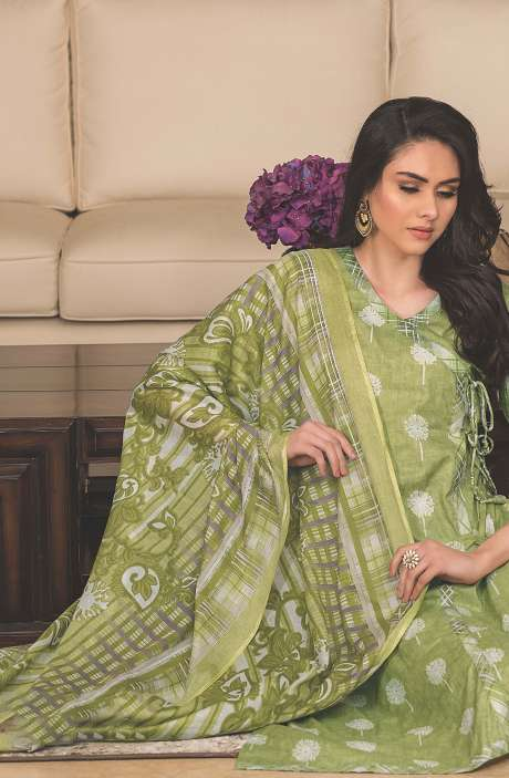 Cotton Printed Unstitched Suit Sets in Green & Multi - AVA1903B