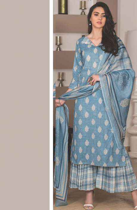 Cotton Printed Unstitched Suit Sets in Grey & Multi - AVA1904B