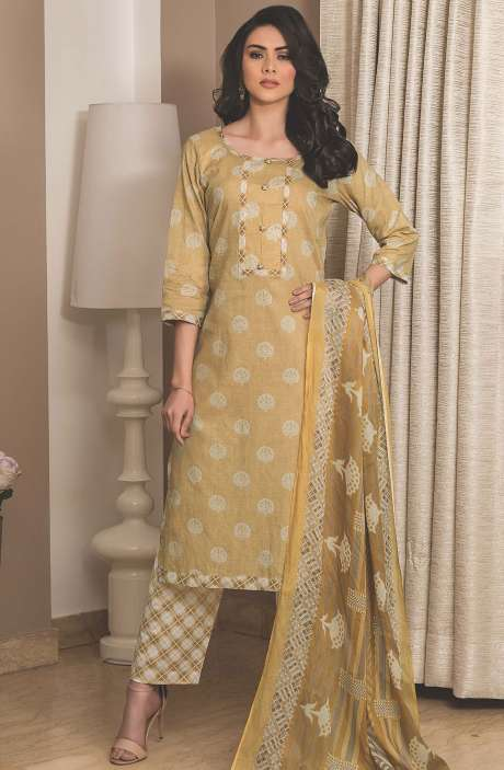 Cotton Printed Unstitched Suit Sets in Mehndi - AVA1905A