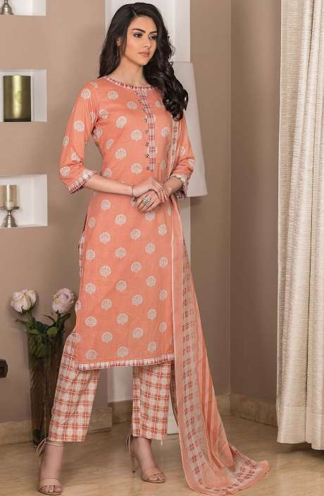 Cotton Printed Unstitched Suit Sets in Peach - AVA1905B