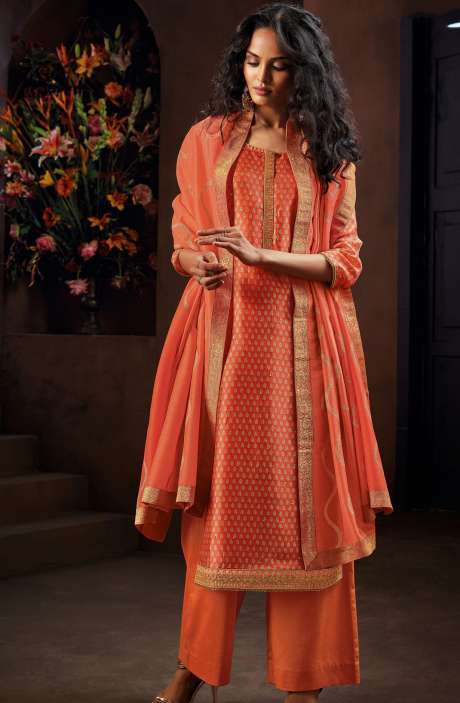 Designer Russian Silk Digital Printed Orange Salwar Kameez with Zari Work - AVA8301